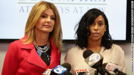 Lisa Bloom (L), lawyer for Montia Sabbag speaks a press conference held at The Bloom Firm September 20, 2017 in Woodland Hills, California.