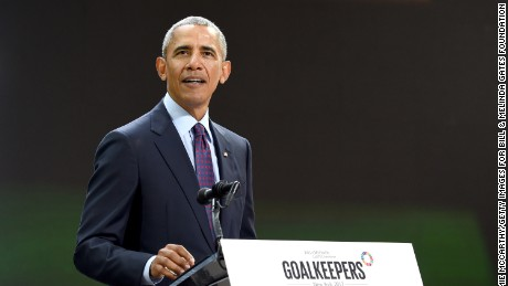President Barack Obama speaks at Goalkeepers 2017, at Jazz at Lincoln Center on September 20, 2017 in New York City.
