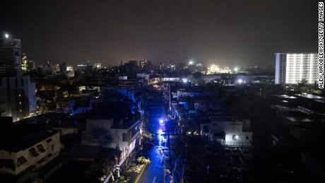 SAN JUAN, PUERTO RICO - SEPTEMBER 20: San Juan is seen during a total blackout after Hurricane Maria made landfall as a Category 4 storm on September 20, 2017 San Juan, Puerto Rico. Thousands of people have sought refuge in shelters, and electricity and phone lines have been severely impacted. Puerto Rico Governor Ricardo Rossello has announced a curfew, 6 p.m. to 6 a.m., effective Wednesday through Saturday. (Photo by Alex Wroblewski/Getty Images)