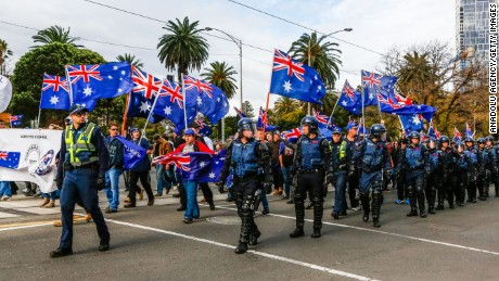 MELBOURNE, AUSTRALIA - JUNE 25 : Police patrol as members of the right wing nationalists 'True Blue Crew' march during a protest organised by the anti-Islam True Blue Crew supported by the United Patriots Front, in Melbourne, Australia on June 25, 2017. (Photo by Asanka Brendon Ratnayake/Anadolu Agency/Getty Images)