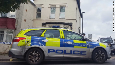 Parsons Green incident. Police outside a property in Thornton Heath, south London, after a teenager was arrested by detectives investigating the Parsons Green terrorist attack, bringing the number of people being held to six. Picture date: Thursday September 21, 2017. The 17-year-old boy was detained after officers executed a warrant at an address at around 12.05am on Thursday. See PA story POLICE Explosion. Photo credit should read: Catherine Wylie/PA Wire URN:32931685
