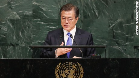 NEW YORK, NY - SEPTEMBER 21:  South Korean president Moon Jae-in speaks to world leaders at the 72nd United Nations (UN) General Assembly at UN headquarters on September 21, 2017 in New York City. Topics to be discussed at this year's gathering include Iran, North Korea and global warming.