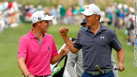 AUGUSTA, GEORGIA - APRIL 06:  Justin Thomas of the United States and Jordan Spieth of the United States walk on the seventh hole during the Par 3 Contest prior to the start of the 2016 Masters Tournament at Augusta National Golf Club on April 6, 2016 in Augusta, Georgia.  (Photo by Kevin C. Cox/Getty Images)