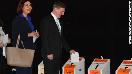 Prime Minister of New Zealand Bill English and his wife Mary cast their votes for the 2017 general election in Wellington on September 21, 2017.  English has enjoyed a late surge in popularity ahead of this weekend's election, opening up a nine point lead on the Jacinta Ardern-led opposition, an opinion poll found Wednesday. / AFP PHOTO / Marty MELVILLE        (Photo credit should read MARTY MELVILLE/AFP/Getty Images)