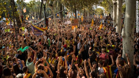 Separatist supporters demonstrate in front of the Catalan high court building on Thursday in Barcelona.