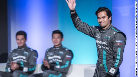 Nelson Piquet Jr (right) has signed for Formula E team Panasonic Jaguar Racing