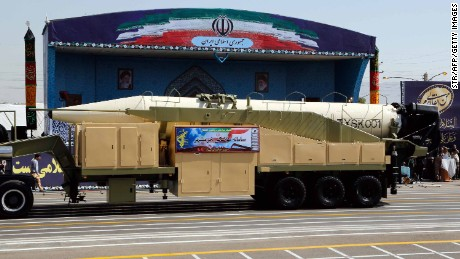 The new Iranian long range missile Khoramshahr is displayed during the annual military parade marking the anniversary of the outbreak of its devastating 1980-1988 war with Saddam Hussein's Iraq, on September 22,2017 in Tehran,