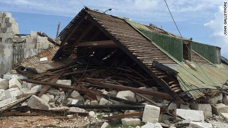 House destroyed by Hurricane Maria in the Turks and Caicos.