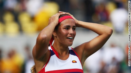 RIO DE JANEIRO, BRAZIL - AUGUST 12:  Monica Puig of Puerto Rico celebrates after defeating Petra Kvitova of the Czech Republic during the Women's Singles Semifinal on Day 7 of the Rio 2016 Olympic Games at the Olympic Tennis Centre on August 12, 2016 in Rio de Janeiro, Brazil.  (Photo by Clive Brunskill/Getty Images)