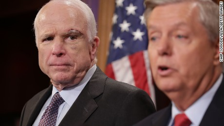 WASHINGTON, DC - JULY 27: Sen. John McCain (R-AZ) (L) and Sen. Lindsey Graham (R-SC) hold a news conference to say they would not support a 'Skinny Repeal' of health care at the U.S. Capitol July 27, 2017 in Washington, DC. The Republican senators said they would not support any legislation to repeal and replace Obamacare unless it was guaranteed to go to conference with the House of Representatives. (Chip Somodevilla/Getty Images)
