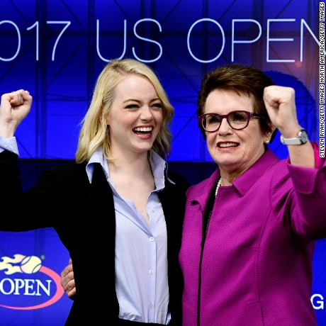 Emma Stone and Billie Jean King pose during a press conference for 'Battle of the Sexes' on September 9, 2017.