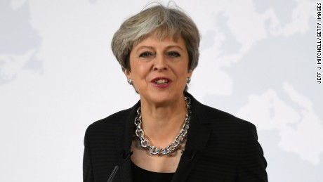 "FLORENCE, ITALY - SEPTEMBER 22:  British Prime Minister Theresa May gives her landmark Brexit speech in Complesso Santa Maria Novella on September 22, 2017 in Florence, Italy. She outlined the UK's proposals to the EU in an attempt to break a deadlock ahead of the fourth round of negotiations that begin on Monday. Florence is often referred to as the ""cradle of capitalism"" known for its historical trading power.  (Photo by Jeff J Mitchell/Getty Images)"