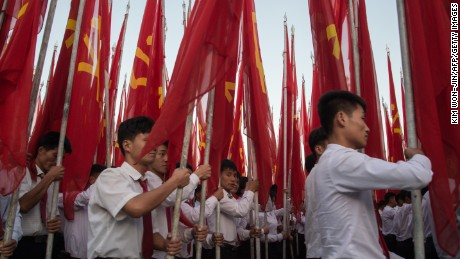 Students march in Pyongyang on Saturday.