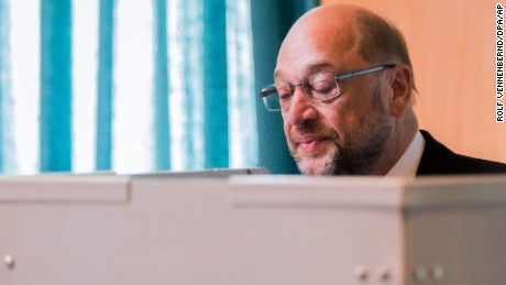 Martin Schulz, top candidate and chairman of the Social Democratic Party, casts his vote in the German election in Wuerselen, Germany, on Sunday.