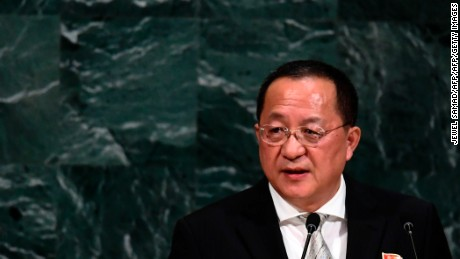 North Korea's Foreign Minister Ri Yong Ho, wearing a pin with images of North Korean leader Kim Jong-Un and his late father Kim Kim Jong-il, addresses the 72nd session of the United Nations General assembly at the UN headquarters in New York on September 23, 2017.   / AFP PHOTO / Jewel SAMAD        (Photo credit should read JEWEL SAMAD/AFP/Getty Images)