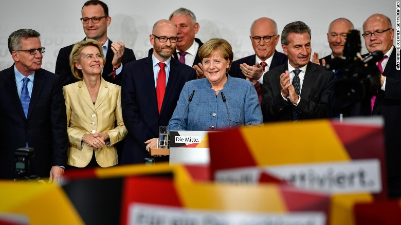 Angela Merkel addresses supporters in Berlin Sunday night.