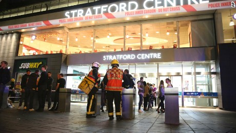 Emergency services at Stratford Centre in east London, following a suspected noxious substance attack where six people have been reported injured, Saturday Sept. 23, 2017. One man has been arrested on suspicion of causing grievous bodily harm. (PA via AP)