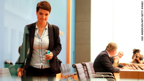 Leadership member of the hard-right party AfD (Alternative für Deutschland) Frauke Petry leaves a press conference on the day after the German General elections on September 25, 2017 in Berlin, where she said she refused to join the AfD party's parliamentary group. 