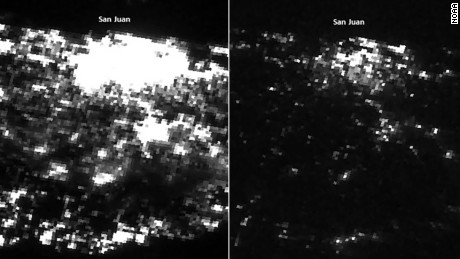 Satellite imagery taken by the Suomi NPP satellite helps show just how massive the power outages are in Puerto Rico. Comparing two images, one taken July 24 and the other just yesterday (Monday, September 25), the difference is startling.