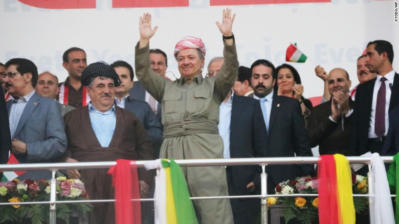 Barzani appears at a pro-independence rally in Irbil on Friday.