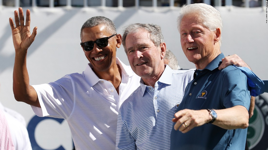 Former US Presidents Barack Obama George W. Bush and Bill Clinton kicked off the Presidents Cup tournament in New Jersey on Thursday- the first time three former presidents have attended the biennial event