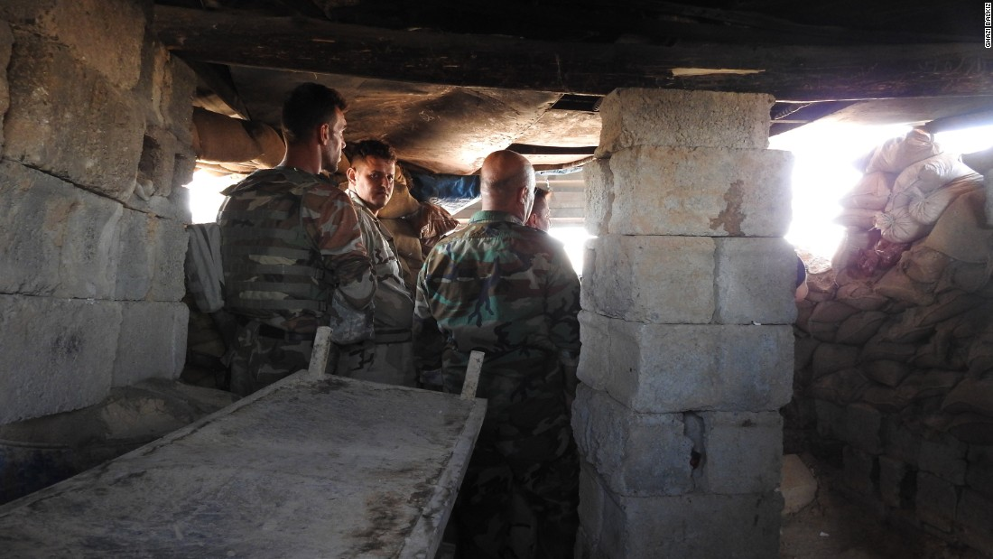 Peshmerga inside the sentry post on the outskirts of Kirkuk