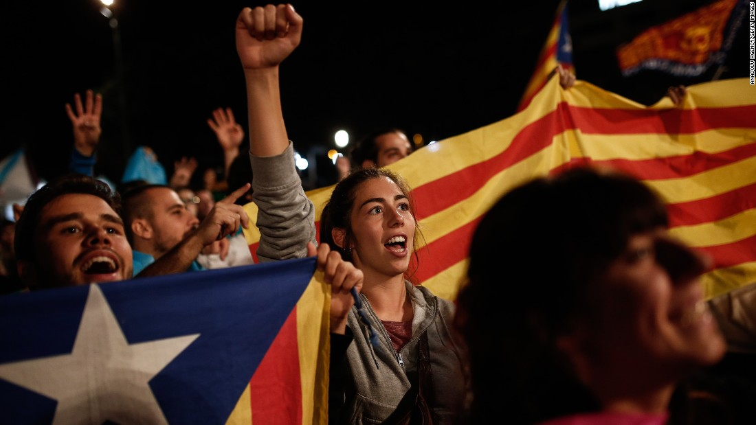 """Independence supporters gather in Barcelona after Catalonia's separatist government <a href=""""http://www.cnn.com/2017/09/27/europe/catalan-referendum-explained/index.html"""">held a referendum</a> to decide if the region should split from Spain late Sunday, October 1. The Catalan government claimed victory early Monday, after pushing forward with the vote despite Spain's Constitutional Court declaring it illegal."""
