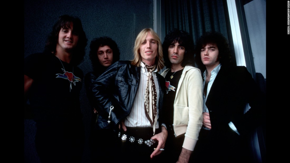 "Tom Petty and the Heartbreakers pose for a backstage portrait in August 1977. The band from Gainesville, Florida, released its debut album in 1976. Notable songs on the album included ""American Girl"" and ""Breakdown."""