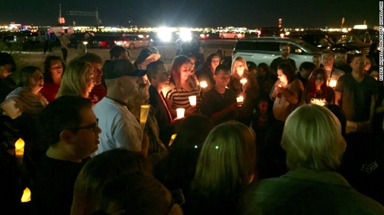 Mourners gathered to honor the victims in the Las Vegas massacre.