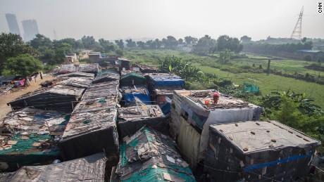 The Kanchan Kunj Rohingya settlement on the outskirts of Delhi, India