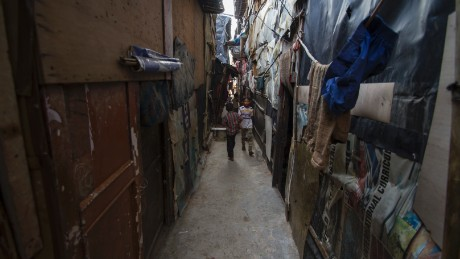 The narrow alleyways of Delhi's Kanchan Kunj makeshift Rohingya settlement.
