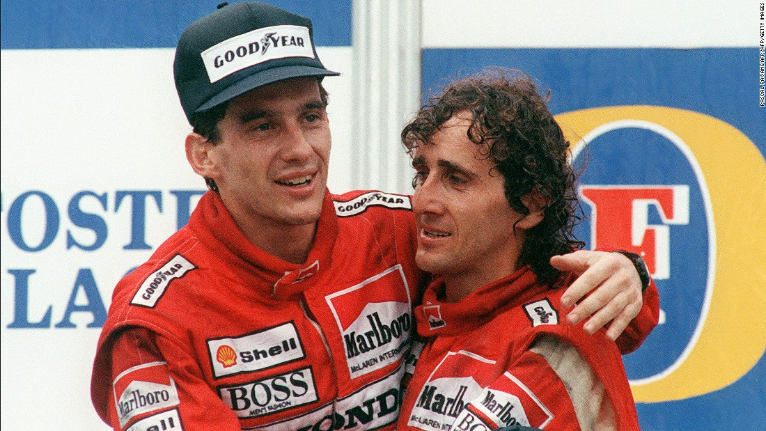 McLaren teammates Ayrton Senna and Alain Prost embrace after the Brazilian clinched the 1988 title in Australia. Their friendship on and off the track didn't last long