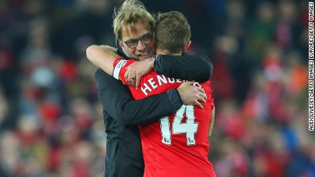 Klopp regularly embraces his players after a match.