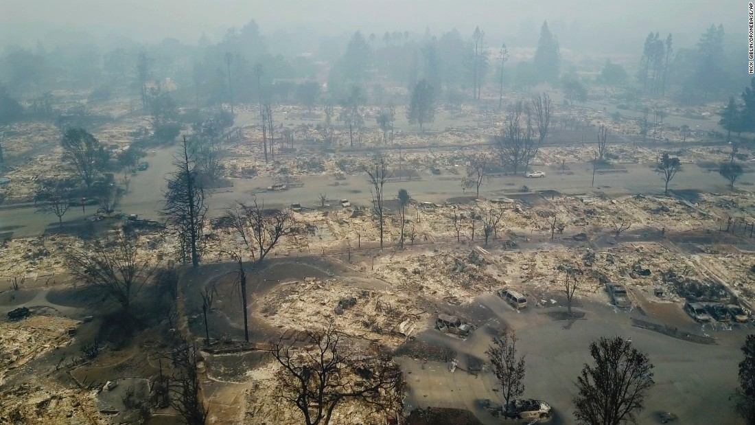 "An aerial photo shows Santa Rosa destruction on Tuesday, October 10. <a href=""http://www.cnn.com/2017/10/10/us/california-fires-napa/index.html"">More than a dozen wildfires</a> are raging across Northern California."