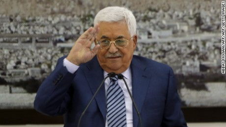Palestinian Authority President Mahmoud Abbas speaks during a meeting of the Palestinian leadership in Ramallah ahead of Palestinian Prime Minister Rami Hamdallah's visit to Gaza.