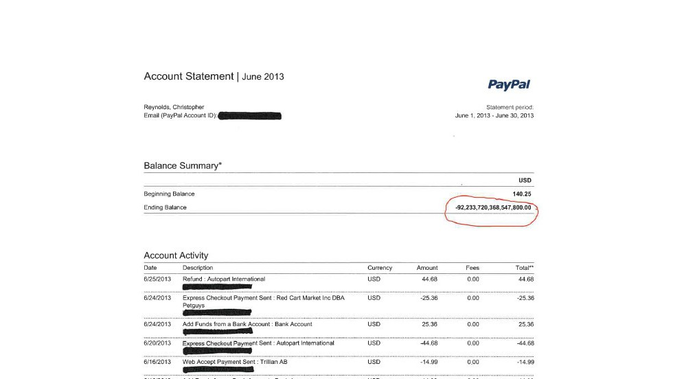 Chris Reynolds' PayPal account was erroneously credited $92,233,720,368,547,800.