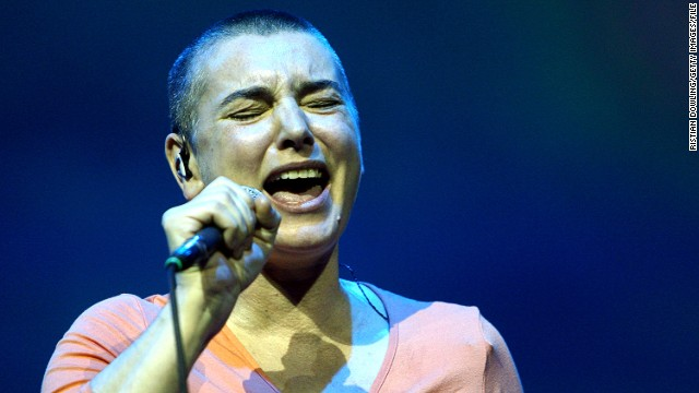 image of Sinead O'Connor in the spotlight