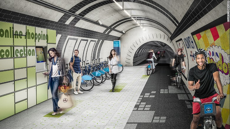 The London Underline concept from design firm Gensler seeks to transform the city's disused rail tunnels into a network of underground pathways for cyclists and pedestrians beneath the streets of the British capital.