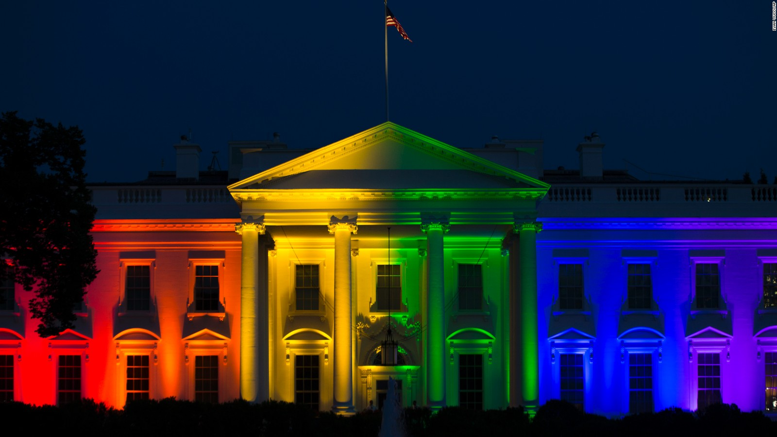Image result for barack obama lights the white house in rainbow colors