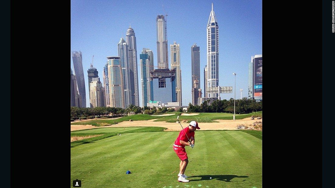 "Perhaps one of the more distinctive backdrops on the list, the Emirates Golf club in Dubai provides something a little different to trees, seas or sunsets. Home to the Burj Khalifa, the world's tallest building, the impressive skyline is certainly an alternative location to play a round in front of. Thanks to <a href=""https://instagram.com/p/y1bNsFixyL/?taken-by=brian_will85"" target=""_blank"">@brian_will85</a> for sending this photo."