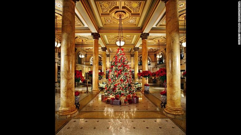 The Willard InterContinental in Washington displays White House Christmas ornaments on its stunning lobby tree.