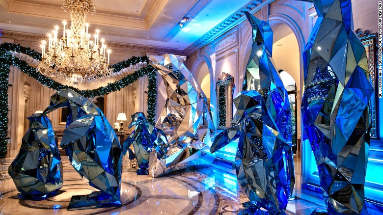 Reflective penguins and polar bears have moved into the Four Seasons Hotel George V in Paris.