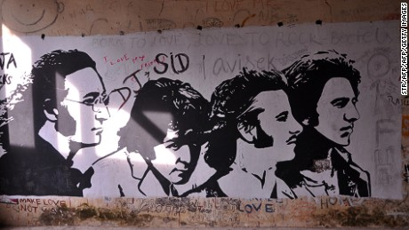This photograph taken on December 8, 2015 shows graffiti painted on the walls of a hall at the Beatles ashram, as the former ashram of the self-styled guru Maharishi Mahesh Yogi is known, in Rishikesh.  An abandoned spiritual retreat in northern India where The Beatles famously learned to meditate has been opened to the public, with plans to turn it into a touristy yoga center, on December 8, 2015.  AFP PHOTO / AFP / STR        (Photo credit should read STR/AFP/Getty Images)