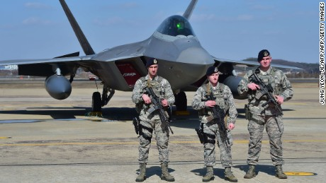 U.S. F-22s fly low in a show of force over South Korea