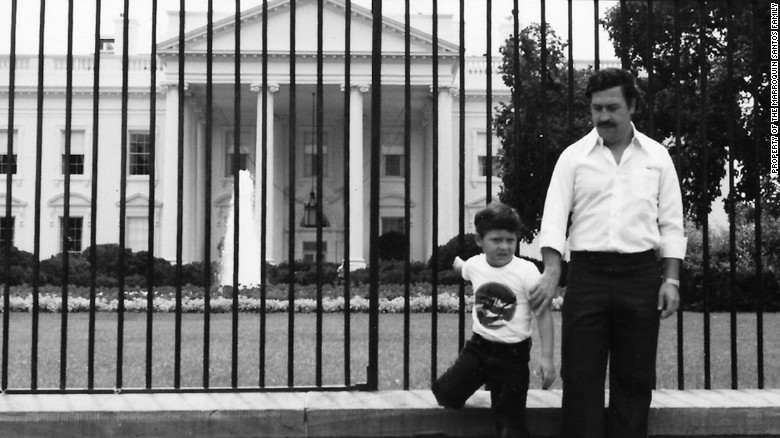 Pablo Escobar and Juan Pablo Escobar in front of the White House