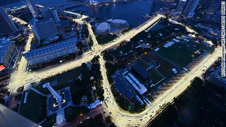 An overview shows the illuminated track for the upcoming Formula One Singapore Grand Prix night race in Singapore on September 17, 2012.Formula One's Singapore Grand Prix will be held on September 21 to 23.   AFP PHOTO/ROSLAN RAHMAN        (Photo credit should read ROSLAN RAHMAN/AFP/GettyImages)