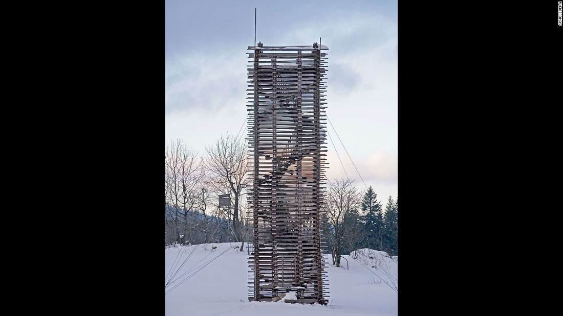 Designed by Hut architektury in 2006, Scholzberg Tower is a wooden hand-built double helix staircase, offering great views of the Czech countryside.