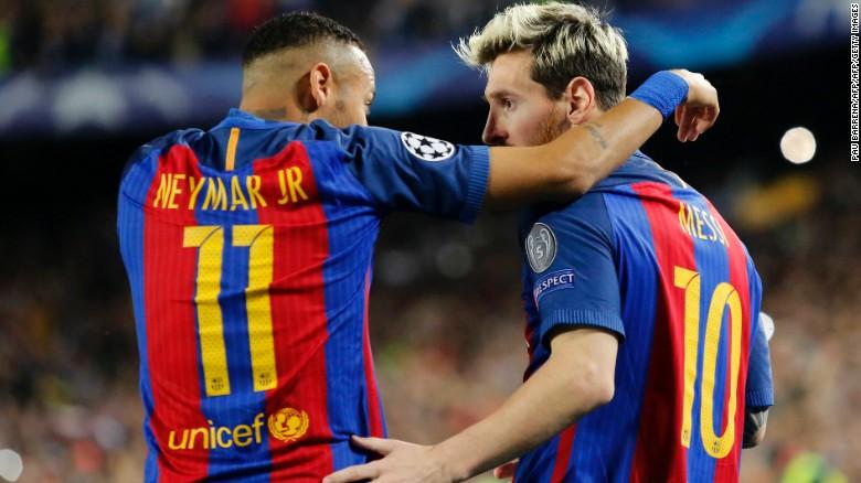 Neymar plays alongside Messi for Barcelona.