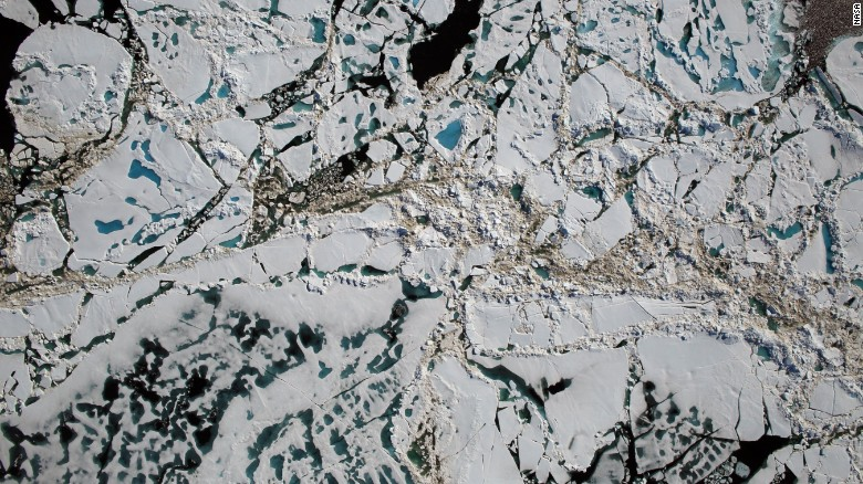NASA's Digital Mapping System instrument captured this image of the thin Arctic ice during an Operation IceBridge flight over the Chukchi Sea on Saturday, July 16, 2016.