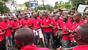 Pro-Biafran protestors gather in Onitsha, Nigeria on May 30 2016.